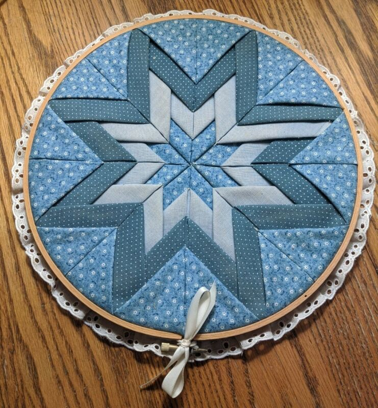 """Vintage Handmade 10"""" Round Star Quilt Block Wall Hanging with Wooden Frame !"""