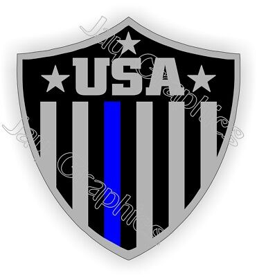 American Flag Usa Police Shield Hard Hat Sticker Thin Blue Line Helmet Decal