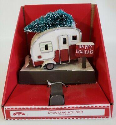 Christmas Stocking Holder Retro Camper Trailer RV With Tree Holiday Time Retro Christmas Stockings