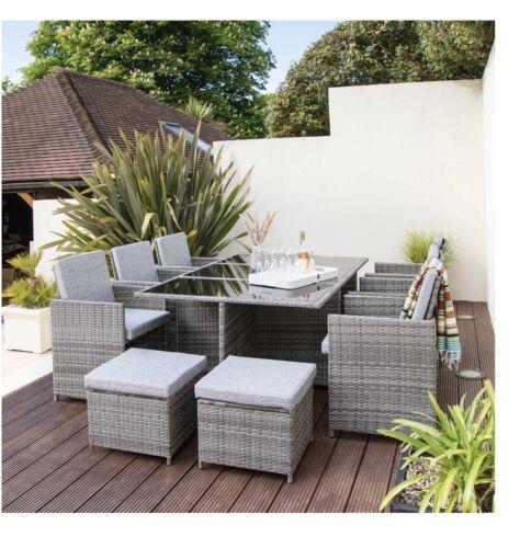 Garden Furniture - GREY RATTAN GARDEN FURNITURE CUBE SET CHAIRS SOFA TABLE OUTDOOR PATIO