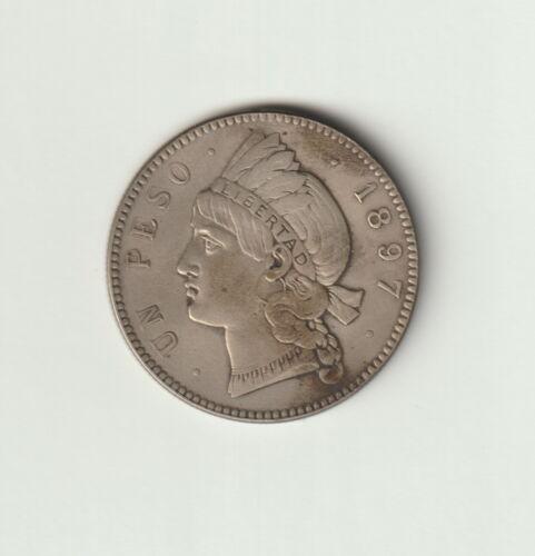 """Dominican Republic 1 Peso Coin 1897 Choice Very Fine Condition KM#16""""Libertad"""""""