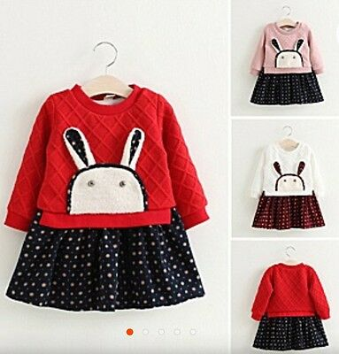 Cute Rabbit French Terry Dress for Little - Little Girls Dresses For Weddings