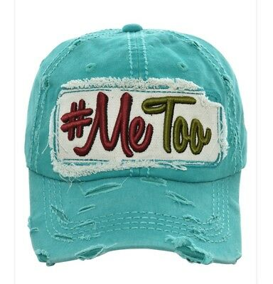 Me Too Embroidered Factory Distressed Women Baseball Cap Western Turquoise Hat