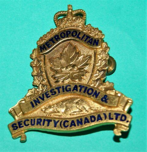 Vintage Metropolitan Investigation & Security (CANADA LTD) Hat Badge