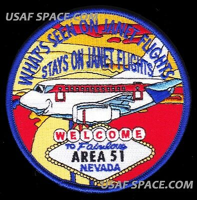 JANET AIRLINES - WHAT'S SEEN ON JANET FLIGHTS - USAF AREA 51 BLACK OPS PATCH