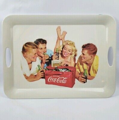 "Large Vintage Coca Cola Classic Beach Party Tray 2002 beach girl 19.5"" x 14.5"""