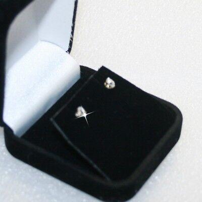 Small Diamond Alternatives Stud Earrings Basket Set 3mm Solid 14k Yellow Gold
