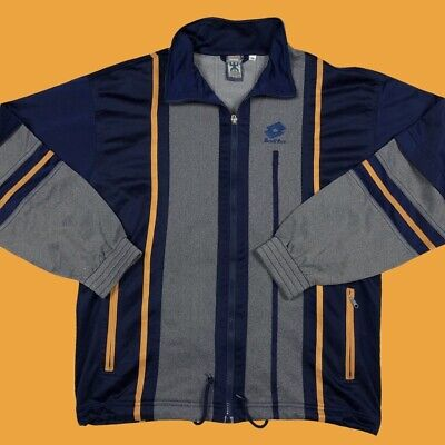 Vintage 90s Lotto navy/grey/yellow striped track jacket size L