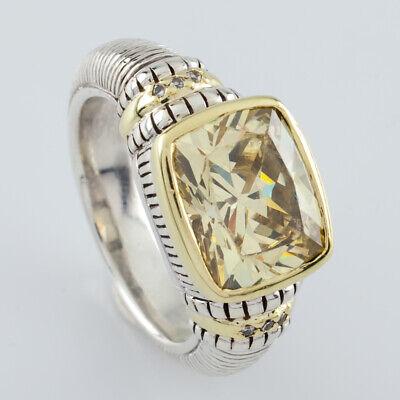 Judith Ripka Two 18k & 925 Yellow Citrine Ring Size 6.75 w/ Diamond Accents