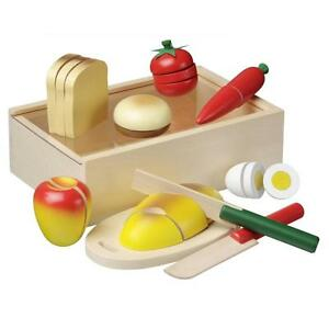 Wooden Picnic Box Cutting Play-Food Pretend Vegetables Fruit Childrens Wood Set