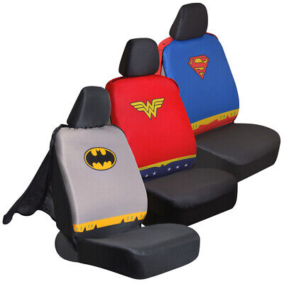 Car Seat Covers DC Comics Superheroes Sideless Front Set with Headrest Covers