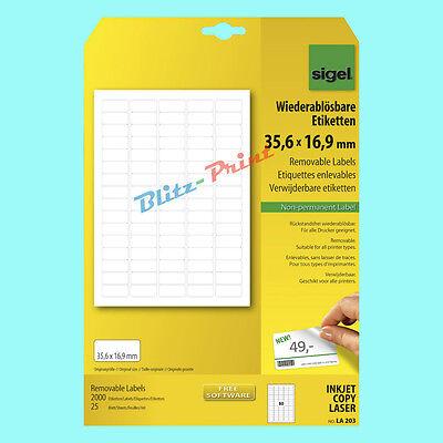 Sigel Etiketten LA203 35,6x16,9mm wiederablösbar Vielzweck-Etikett 25 Bl. LA 203