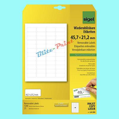 Sigel Etiketten LA204 45,7x21,2mm weiß wiederablösbar Adress-Etikett LA 204 TOP