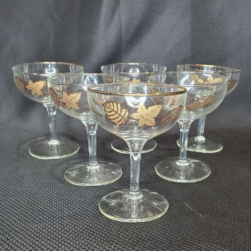 6 Vtg Mid Century Gold Leaves  Rimmed Champagne Martini Glasses Stemware Barware