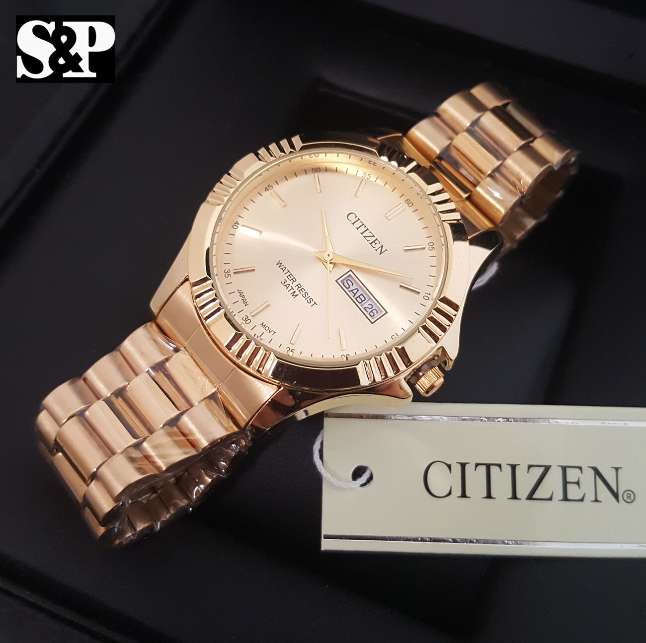 $44.99 - Mens Luxury Citizen Gold Stainless Steel Analog Round Metal Band Dress Watch