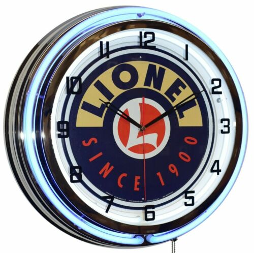 """19"""" Lionel Trains Since 1900 Sign Blue Double Neon Clock Game Room Wall Decor"""