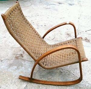 Eccezionale poltrona a dondolo sedia con braccioli anni 39 60 design scandinavo ebay - Sedia a dondolo design ...
