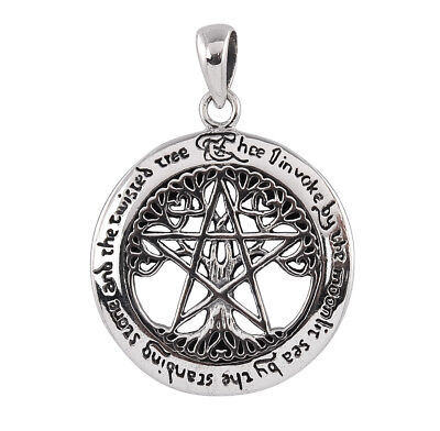 Sterling Silver Cut-Out Tree Pentacle Pendant - Dryad Design Wiccan Talisman