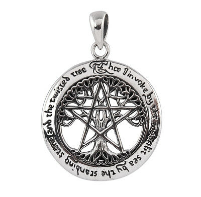 Sterling Silver Cut-Out Tree Pentacle Pendant - Dryad Design Wicca/Celtic Amulet