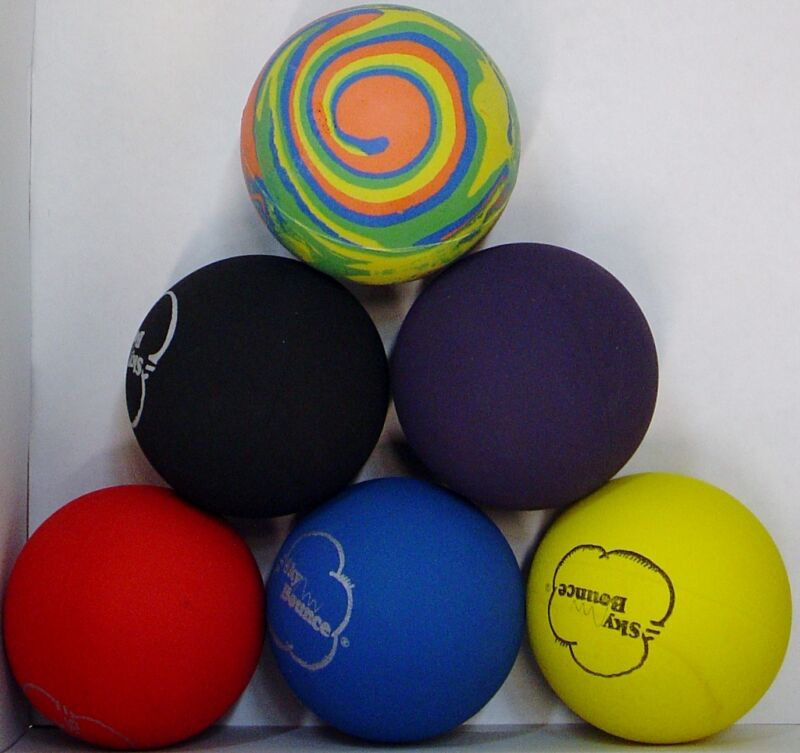 GENUINE SKY BOUNCE HAND BALL RACKET BALL RACQUETBALL (LOT OF 6 Assorted ) USA
