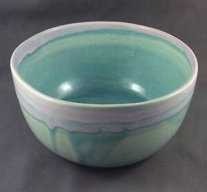 Hand made earthenware planter/pot pink and turquoise Kelmscott Armadale Area Preview