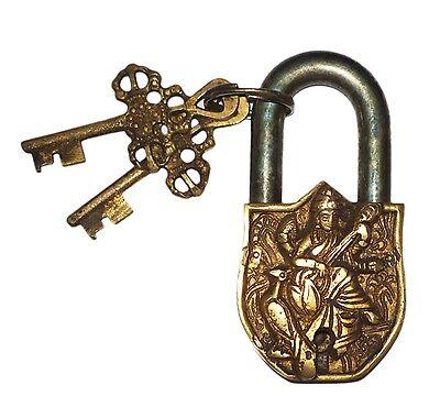 Unusual attractive Brass Made Deity of Art SARASWATI PADLOCK 2 keys from India
