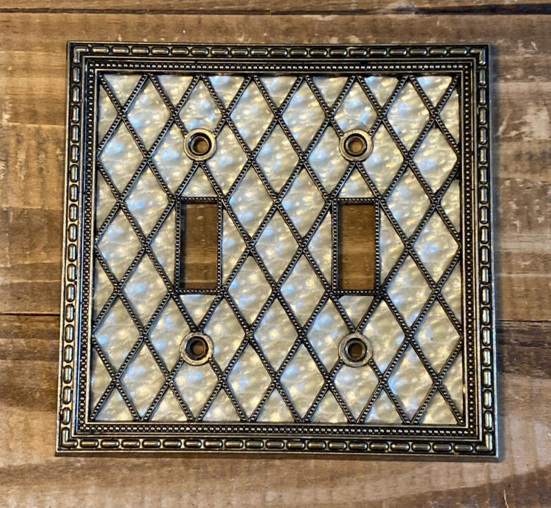 Vintage 1976 American Tack Hardware Brass Mother Of Pearl Double Switch Plate