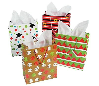 Medium Cheery Christmas Gift Bags with Tags  (12 Pack)  7 1/2