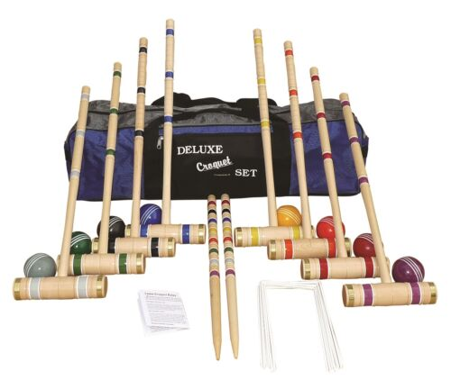"""8-Player Croquet Set with 28"""" Handles in Carrying Bag - Amish Made"""