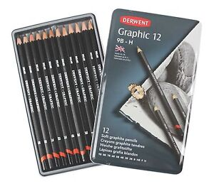 Derwent Soft Graphic Pencils Tin Graphite Sketching Pencils 9B-H (Set of 12)