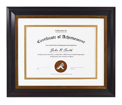8x10 Frame for 6x8 Diploma Includes White Over Gold Double Mat, Real Glass