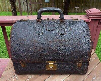 ANTIQUE 1920's GENUINE WALRUS SKIN DOCTOR TRAVEL BAG W/ VINTAGE BRASS HARDWARE