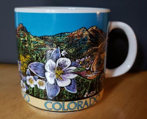 1990 Colorado Coffee Mug Cup State Flower Columbine Mountain Ridge