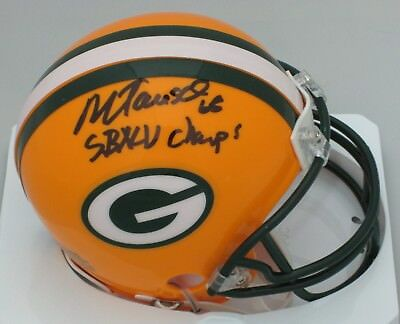 (Packers MARK TAUSCHER Signed Riddell Mini Helmet AUTO w/