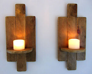 PAIR OF 48CM RECLAIMED PALLET WOOD FLOATING SHELF / WALL SCONCE CANDLE ...