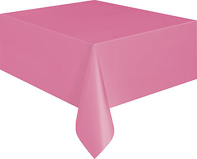 HOT PINK Oblong Plastic Tablecover Tablecloth Birthday Girls Party Tableware - Hot Pink Plastic Tablecloth