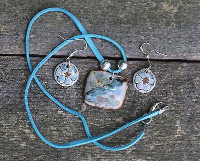 Ceramic Blue Bird Pendant & earrings, Clay Hand Made, Oaxaca Mexican Folk Art!