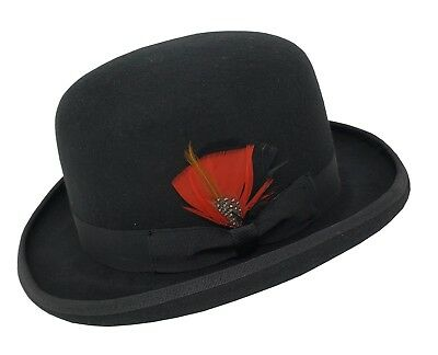 Different Touch 100% Wool Felt Derby Bowler with Removable Feather Fedora Hats (Felt Hat With Feather)