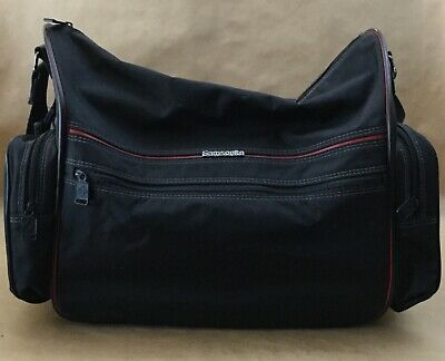 Vintage Samsonite Black Canvas Travel Carry On Duffle Bag Luggage