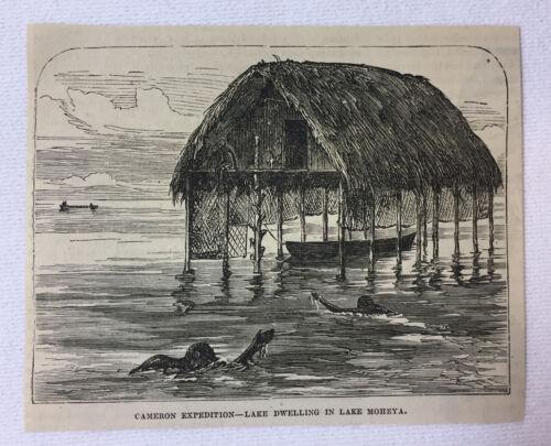 1877 magazine engraving ~ LAKE DWELLING IN LAKE MOHEYA Africa