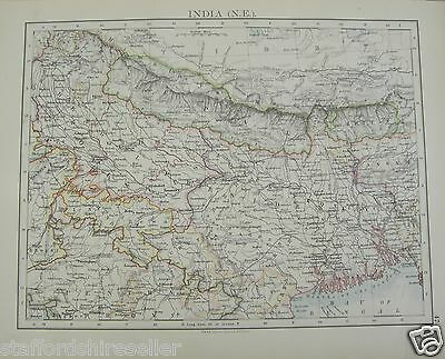Antique 1895 Map of India North East by W AK Johnston