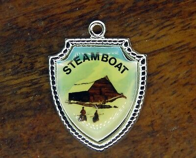 Used, Vintage silver STEAMBOAT SPRINGS CABINS COLORADO STATE TRAVEL SHIELD charm #E14 for sale  Shipping to Canada