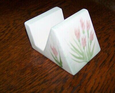 Vintage Ceramic Business Card Holder Pink Flowers