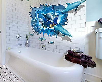 Delphin 3D XXL Wandtattoo Wandsticker Sticker  Meer Unterwasserwelt Delfine