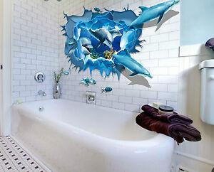Delphin 3D XXL Wandtattoo Wandsticker Sticker  Meer Unterwasserwelt