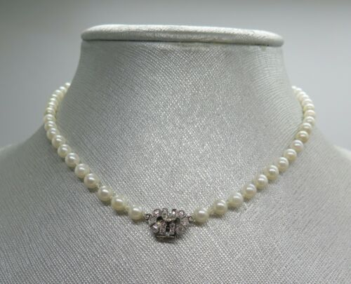Graduated 4mm to 5mm Akoya Pearl Necklace with Antique Platinum Diamond Clasp