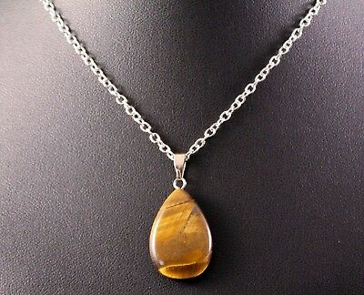 Tiger's Eye Teardrop Pendant Necklace w/Free Jewelry Box and Shipping