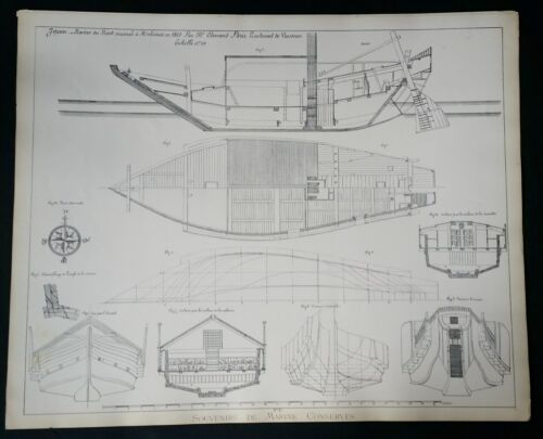 BLUEPRINT FRENCH NAUTICAL MUSEUM, Plan #17 JAPAN 1869 SHIP, Geisendorfer 1890