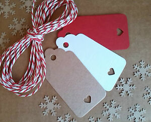 Nordic Heart Christmas Gift Tags Brown White Vintage-Style Red & White Twine