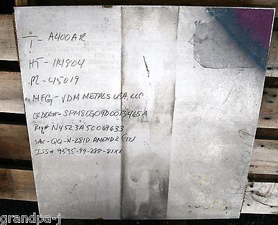 Stainless Steel Plate Nickel-coper 34x 24x 24 400 Qq-n-281d Wmfg. Certs
